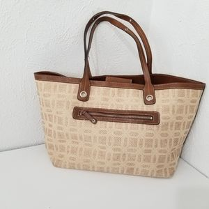 Liz Claiborne fabric and leather tote bag